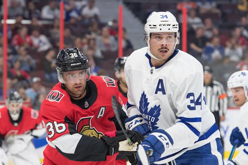 Sep 18, 2019; Ottawa, Ontario, CAN; Ottawa Senators center Colin White (36) faces off against Toronto Maple Leafs center Auston Matthews (34) in the first period at the Canadian Tire Centre. Mandatory Credit: Marc DesRosiers-USA TODAY Sports