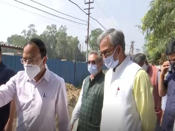 Uttarakhand Chief Minister Trivendra Singh Rawat inspected works under Dehradun Smart City project on Tuesday (Photo/ANI)
