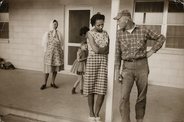 """<div class=""""caption-credit""""> Photo by: Grey Villet</div><div class=""""caption-title"""">Mildred and Richard Loving</div>Mildred and Richard Loving on their front porch, King and Queen County, Virginia. April 1965"""