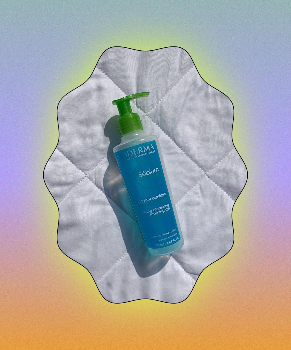 """Calling all those with very <a href=""""https://www.refinery29.com/en-gb/easy-skincare-routine-all-skin-types"""" rel=""""nofollow noopener"""" target=""""_blank"""" data-ylk=""""slk:oily skin"""" class=""""link rapid-noclick-resp"""">oily skin</a>: you need this cleanser. It cuts through face grease (a culprit for <a href=""""https://www.refinery29.com/en-gb/2020/04/9654946/skin-care-acne-during-quarantine"""" rel=""""nofollow noopener"""" target=""""_blank"""" data-ylk=""""slk:breakouts"""" class=""""link rapid-noclick-resp"""">breakouts</a>) and heavy makeup in one wash, making skin feel squeaky clean and fresh. <br><br><strong>Bioderma</strong> Sebium Purifying Cleansing Foaming Gel, $, available at <a href=""""https://www.escentual.com/bioderma/bioderma059/"""" rel=""""nofollow noopener"""" target=""""_blank"""" data-ylk=""""slk:Escentual"""" class=""""link rapid-noclick-resp"""">Escentual</a>"""