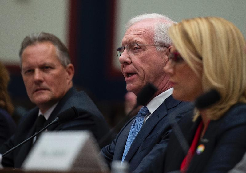 "Former airline captain, Chesley ""Sully"" Sullenberger (C) speaks during a congressional hearing on ""Status of the Boeing 737 MAX: Stakeholder Perspectives"" (AFP Photo/ANDREW CABALLERO-REYNOLDS)"