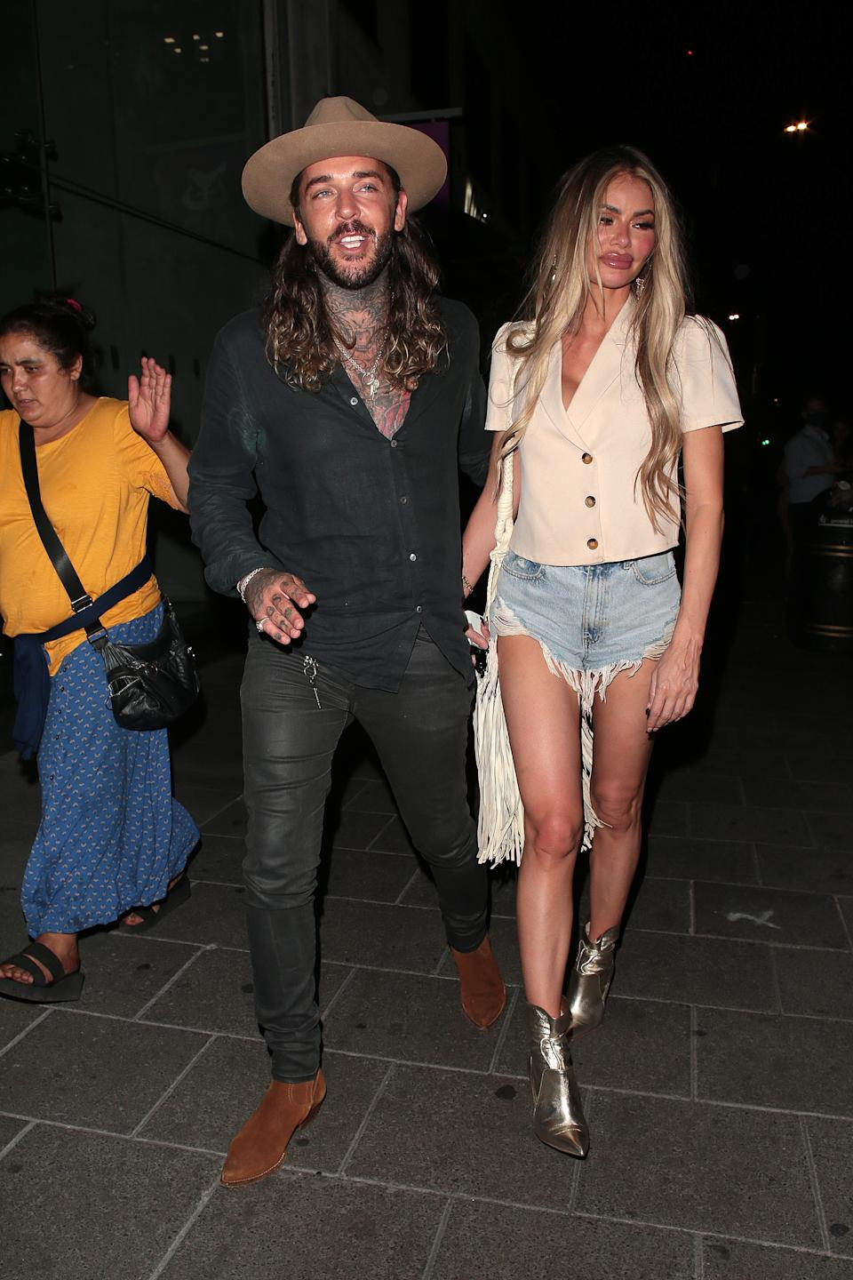LONDON, ENGLAND - AUGUST 07:  Pete Wicks and Chloe Sims seen on a night out at Amazonico restaurant in Mayfair on August 07, 2020 in London, England. (Photo by Ricky Vigil/GC Images)