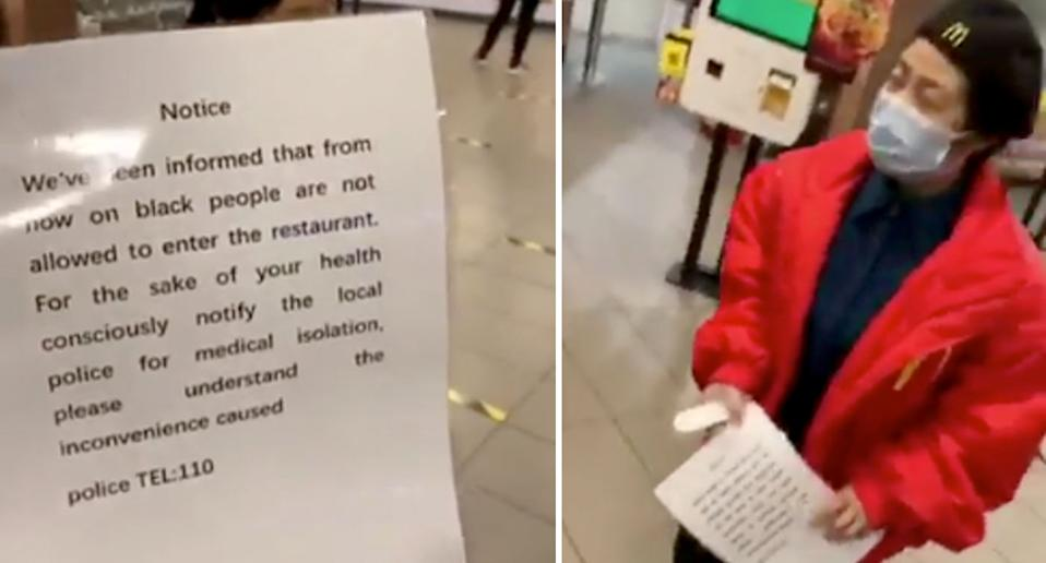A McDonald's employee distributes the notice which says black people are banned from the store. Source: Black Livity China