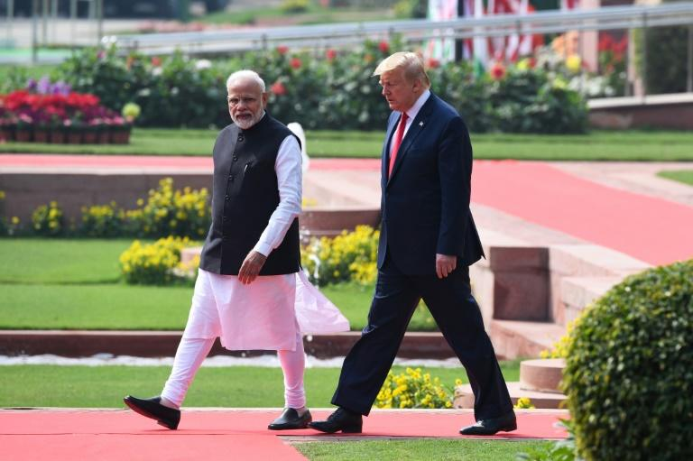 US President Donald Trump (R), pictured with India's Prime Minister Narendra Modi, has pushed for greater access to India's markets (AFP Photo/Prakash SINGH)