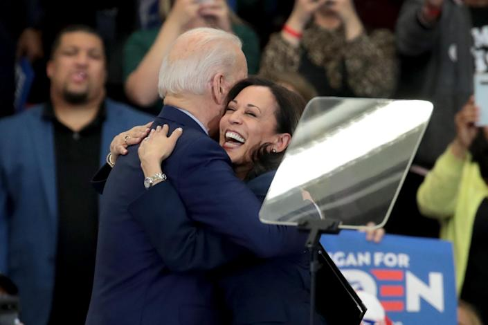 Kamala Harris hugs Joe Biden after introducing him at a rally in Detroit on March 9. (Scott Olson/Getty Images)