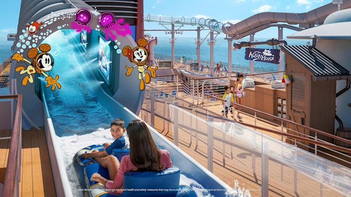 """Guests will be immersed in """"The Wonderful World of Mickey Mouse"""" animated shorts aboard the firstever Disney attraction at sea, AquaMouse. Complete with show scenes, lighting and special effects, and splashtacular surprises, this wild water ride is sure to delight everyone in the family as they zig, zag and zoom through 760 feet of winding tubes suspended high above the upper decks."""