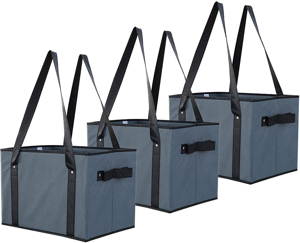<p>This <span>Earthwise Deluxe Collapsible Reusable Shopping Box Grocery Bag Set</span> ($26) is always a good thing to have on hand.</p>
