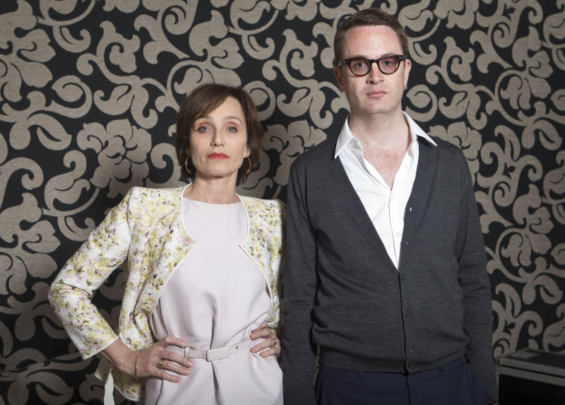 Actor Kristin Scott Thomas and director Nicholas Winding Refn during a portrait session for the film Only God Forgives at the 66th international film festival, in Cannes, southern France, Wednesday, May 22, 2013. (Photo by Joel Ryan/Invision/AP)