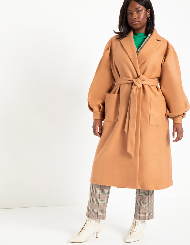 "Lockdown or not, no fall style edit is complete without a good camel coat. $170, Eloquii. <a href=""https://www.eloquii.com/puff-sleeve-robe-coat/1258061.html?dwvar_1258061_colorCode=15"" rel=""nofollow noopener"" target=""_blank"" data-ylk=""slk:Get it now!"" class=""link rapid-noclick-resp"">Get it now!</a>"