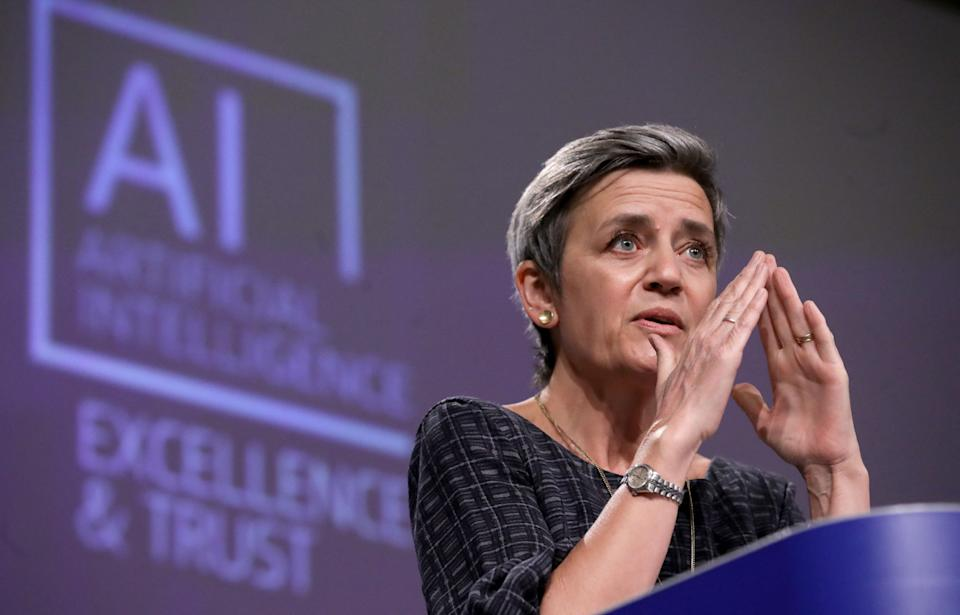European Executive Vice-President Margrethe Vestager speaks during a press conference on artificial intelligence (AI) following the weekly meeting of the EU Commission in Brussels on April 21, 2021. (Photo by Olivier HOSLET / POOL / AFP) (Photo by OLIVIER HOSLET/POOL/AFP via Getty Images)
