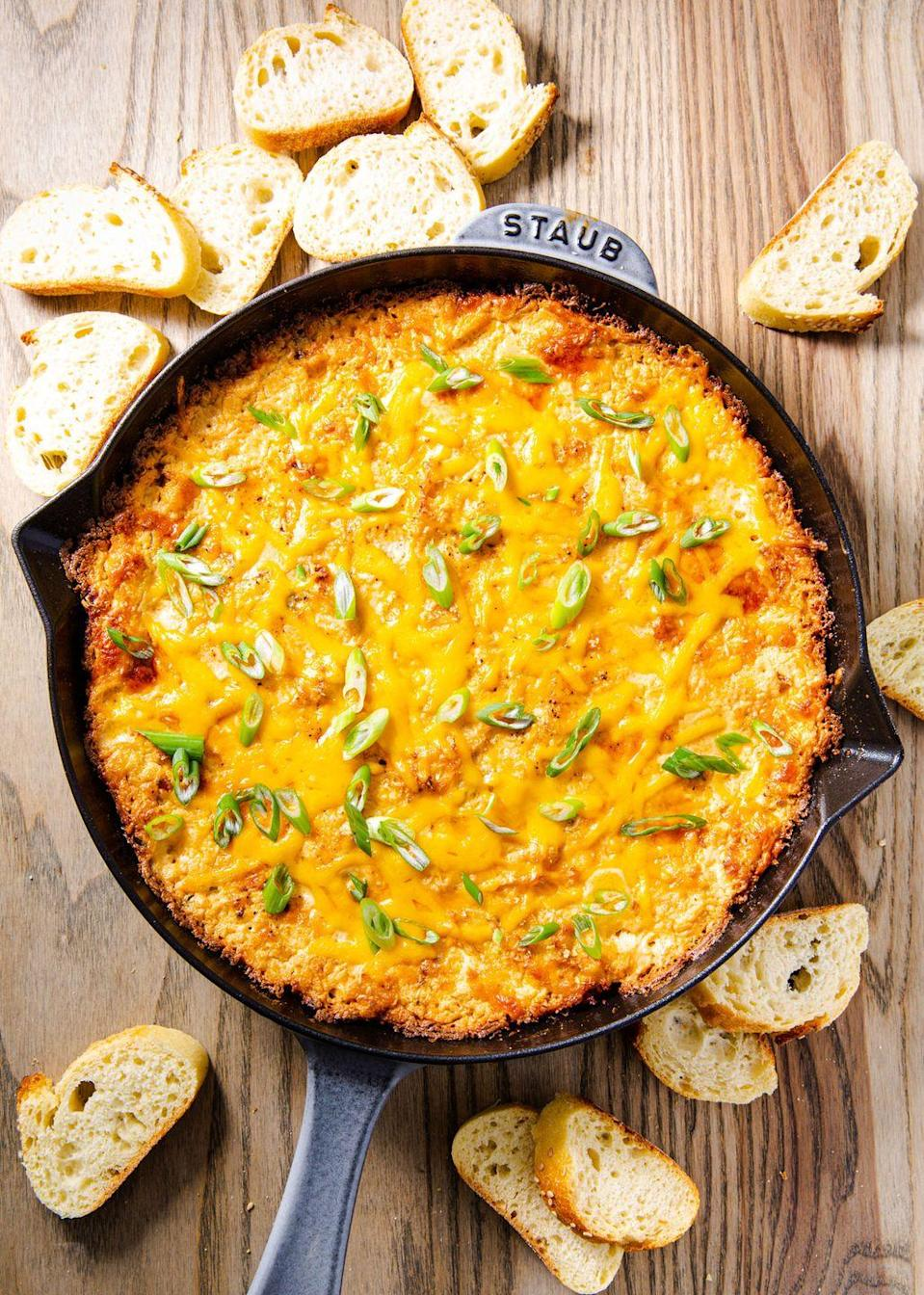 """<p>You won't be crabby when you eat this.</p><p>Get the recipe from <a href=""""https://www.delish.com/cooking/recipe-ideas/a30195933/easy-hot-crab-dip-recipe/"""" rel=""""nofollow noopener"""" target=""""_blank"""" data-ylk=""""slk:Delish"""" class=""""link rapid-noclick-resp"""">Delish</a>.</p>"""