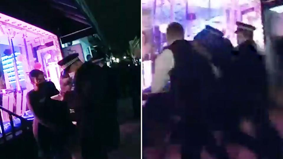 Cops are seen arresting partygoers and writing fines.