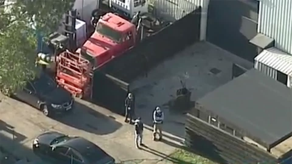 A suspected bikie clubhouse in Dandenong was also raided. Photo: 7 News