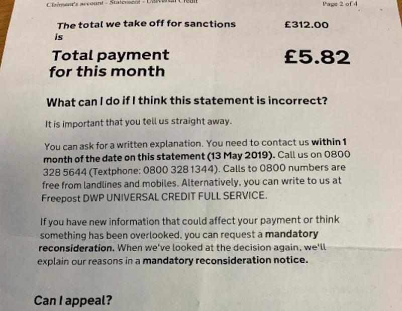 DWP Slammed After Letter Appears To Show Universal Credit Claimant Given £5 To Last The Month