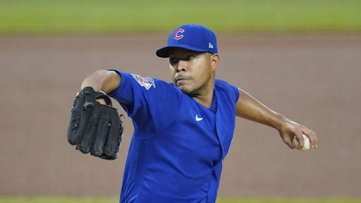 Chicago Cubs starting pitcher Jose Quintana delivers during the first inning of a baseball game.