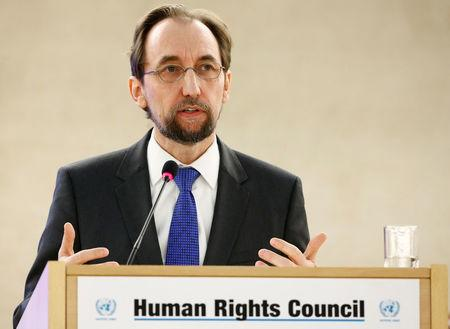 Al Hussein, UN High Commissioner for Human Rights attends the Human Rights Council in Geneva