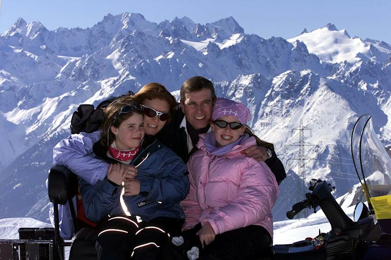 The Duke and Duchess of York with their daughters Princess Eugenie (left) and Princess Beatrice (right) during a skiing holiday in the Swiss Alps. The Duke and Duchess were celebrating Princess Eugenie passing her Common Entrance Examination. * Ten-year-old Eugenie's exam success means she will now enrol at a private school near Windsor Castle. The divorced Duke and Duchess were reunited at their favourite Swiss Alpine resort and posed for photographs with Beatrice and Eugenie who is 11 next month.