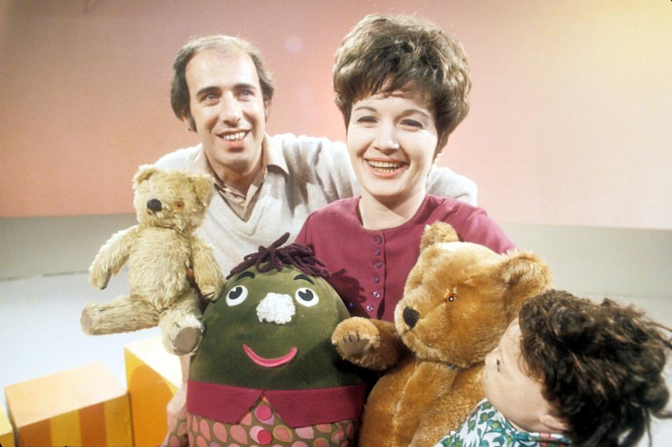 Jones with fellow Play School presenter Julie Stevens and Little Ted, Humpty, Big Ted and Hamble (1969) - BBC