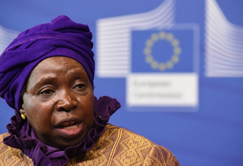 African Union Commission president Nkosazana Dlamini-Zuma talks during a joint press conference on April 22, 2015 in Brussels (AFP Photo/John Thys)
