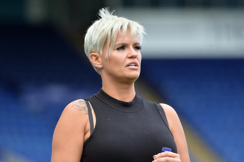 LEICESTER, ENGLAND - May 28: Team manager Kerry Katona during the Celebrity Charity Football Match at King Power Stadium on May 28 , 2017 in Leicester, United Kingdom.  (Photo by Plumb Images/Leicester City FC via Getty Images)