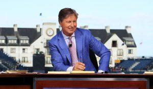CARNOUSTIE, SCOTLAND - JULY 17: Rich Lerner, Brandel Chamblee and Frank Nobilo are seen on the Golf Channel set during previews to the 147th Open Championship at Carnoustie Golf Club on July 17, 2018 in Carnoustie, Scotland. (Photo by Andrew Redington/Getty Images)