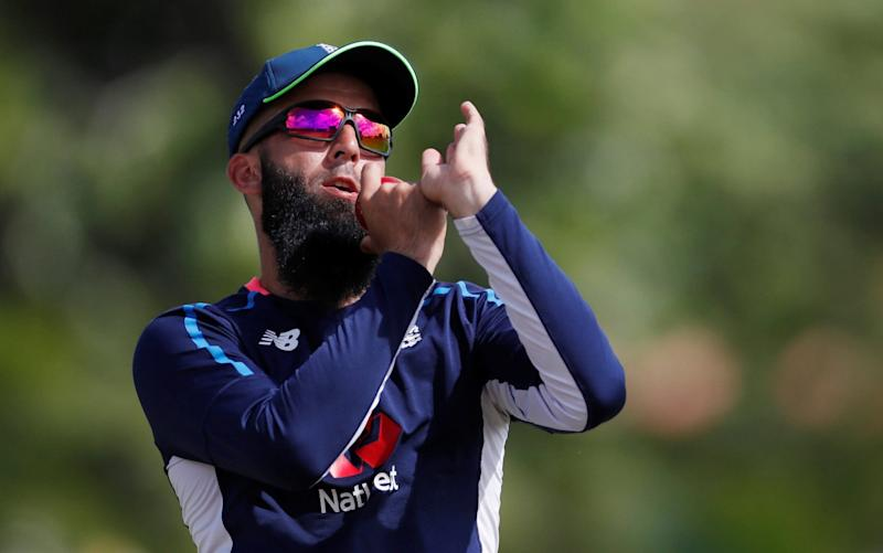 Moeen Ali bowling during an England net session - Action Images via Reuters