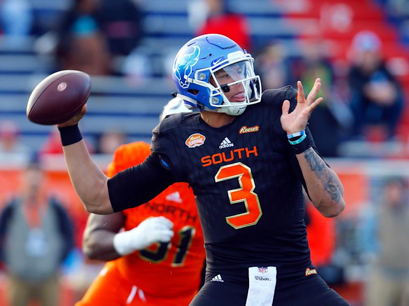 South quarterback Tyree Jackson of Buffalo (3) throws a pass during the second half of the Senior Bowl college football game, Saturday, Jan. 26, 2019, in Mobile, Ala. (AP Photo/Butch Dill)