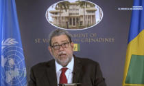 In this photo taken from video, Ralph Gonsalves, Prime Minister of Saint Vincent and the Grenadines, remotely addresses the 76th session of the United Nations General Assembly in a pre-recorded message, Saturday Sept. 25, 2021 at UN headquarters. (UN Web TV via AP)