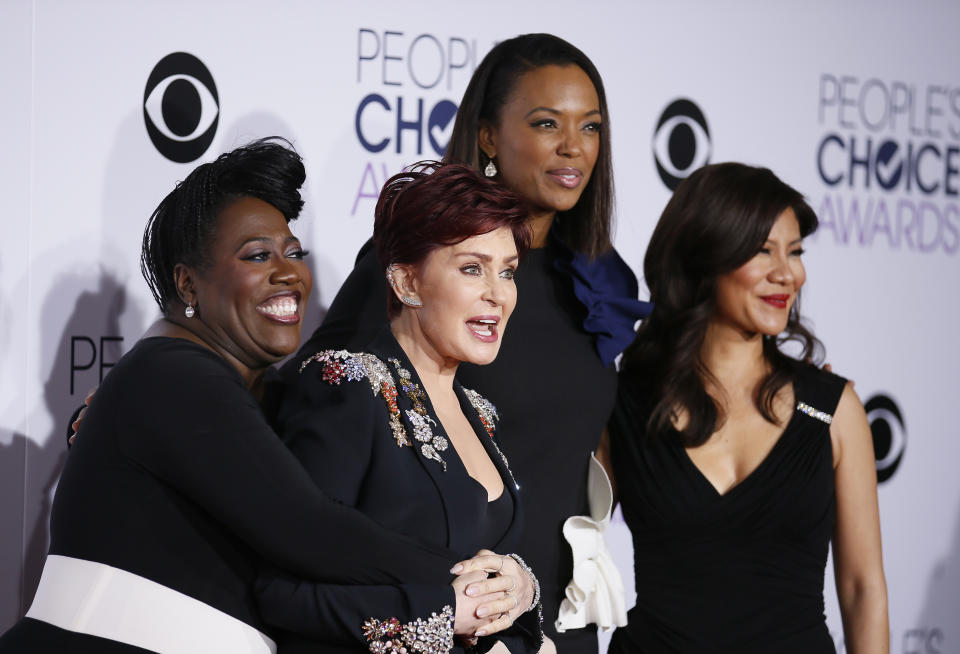 (L-R) Sheryl Underwood, Sharon Osbourne, Aisha Tyler and Julie Chen from