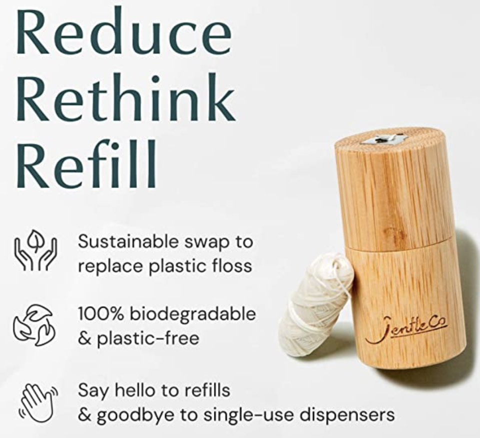 PHOTO: Amazon. Bamboo Floss Dispenser, Biodegradable Silk Floss, 30m, Refillable, Plastic-Free