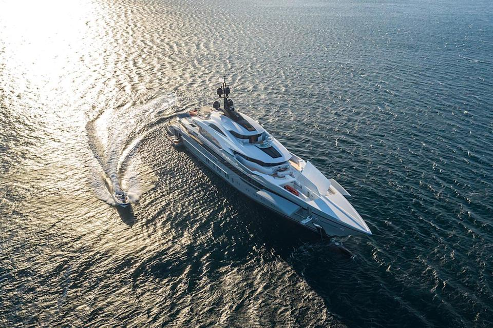 Aerial view of the superyacht Tatina by IYC with a jetski