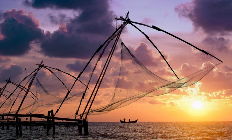 The massive, cantilevered Chinese fishing nets on the shores of Fort Kochi have been used since the 14th century.