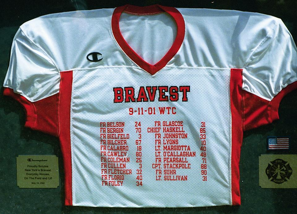Jersey honoring the members of the Bravest lost on 9/11. (Courtesy Maggie Narducci)