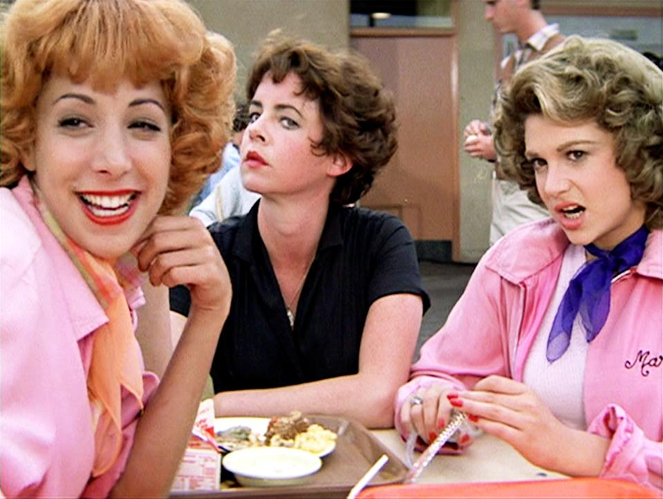 Didi Conn as Frenchy, Stockard Channing as Betty Rizzo and Dinah Manoff as Marty Maraschino in 'Grease', 1978. (Photo by Paramount/CBS via Getty Images)