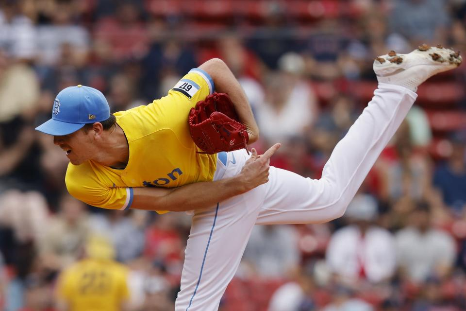 Boston Red Sox's Nick Pivetta pitches during the first inning of a baseball game against the Baltimore Orioles, Saturday, Sept. 18, 2021, in Boston. (AP Photo/Michael Dwyer)