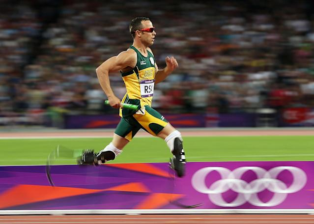 LONDON, ENGLAND - AUGUST 10: Oscar Pistorius of South Africa competes during the Men's 4 x 400m Relay Final on Day 14 of the London 2012 Olympic Games at Olympic Stadium on August 10, 2012 in London, England. (Photo by Ezra Shaw/Getty Images)