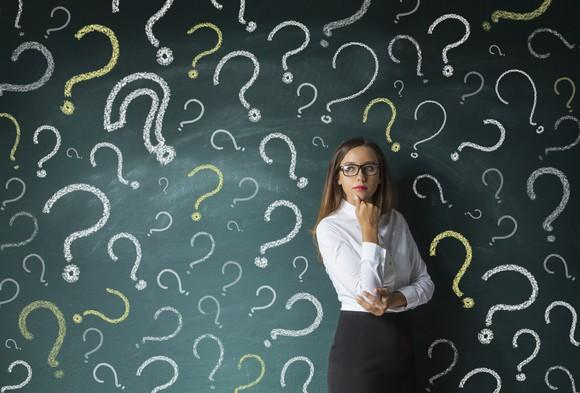 A businesswoman in a thinking pose standing in front of a chalkboard with question marks drawn on it.