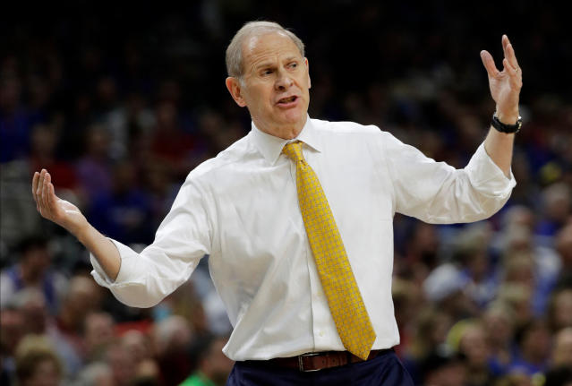 Michigan head coach John Beilein reacts to a call during the first half against Loyola-Chicago in the semifinals of the Final Four NCAA college basketball tournament, Saturday, March 31, 2018, in San Antonio. (AP Photo/David J. Phillip)