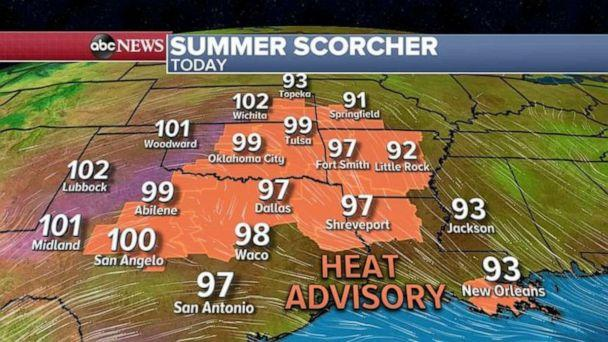 PHOTO: Very hot weather will continue from Arizona to northern California with temperatures in the 100's and 110's with localized gusty winds expected, much like the ones that helped the Aquila Fire grow. (ABC News)