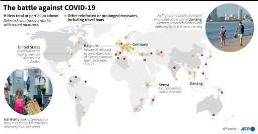 Selected countries and territories that have recently adopted new measures to slow the spread of COVID-19, as of July 28