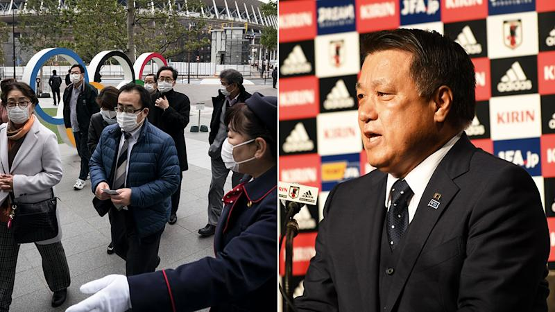 Pictured right, Japan Olympic Committee vice-chairman Kozo Tashima has tested positive for coronavirus.