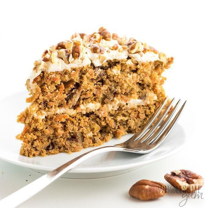 """<p>What would dessert time be without a staple carrot cake, amirite?</p><p><a class=""""link rapid-noclick-resp"""" href=""""https://www.wholesomeyum.com/recipes/low-carb-keto-sugar-free-carrot-cake-recipe/"""" rel=""""nofollow noopener"""" target=""""_blank"""" data-ylk=""""slk:Get the recipe"""">Get the recipe</a></p><p><em>Per serving: 359 calories, 34 g fat, 7.5 g protein, 8.5 g carbs, 3 g fiber, 2 g sugar </em></p>"""