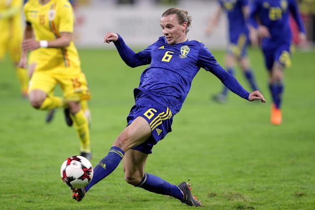 Soccer Football - International Friendly - Romania vs Sweden - National Arena, Craiova, Romania - March 27, 2018 Sweden's Niklas Hult in action Inquam Photos/Octav Ganea via REUTERS ROMANIA OUT. NO COMMERCIAL OR EDITORIAL SALES IN ROMANIA THIS IMAGE HAS BEEN SUPPLIED BY A THIRD PARTY. IT IS DISTRIBUTED, EXACTLY AS RECEIVED BY REUTERS, AS A SERVICE TO CLIENTS
