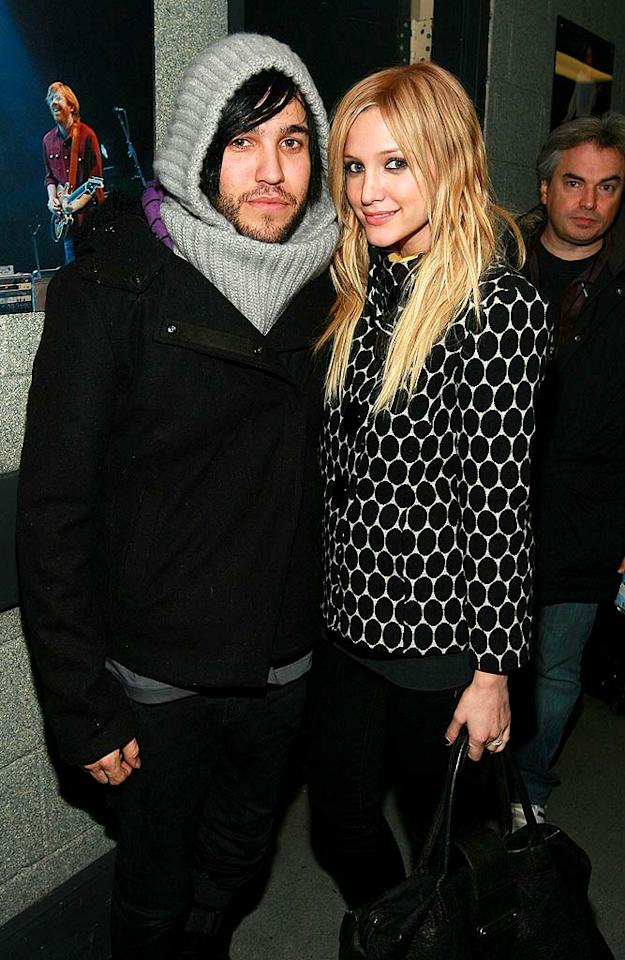 """Pete Wentz and Ashlee Simpson made sure to check out the gift suites backstage. Perhaps the Fall Out Boy rocker snagged that Mary-Kate Olsen-inspired head wrap from the H&M table? In any case, his gal pal should suggest he leave it at home next time. Dimitrios Kambouris/<a href=""""http://www.wireimage.com"""" target=""""new"""">WireImage.com</a> - December 14, 2007"""