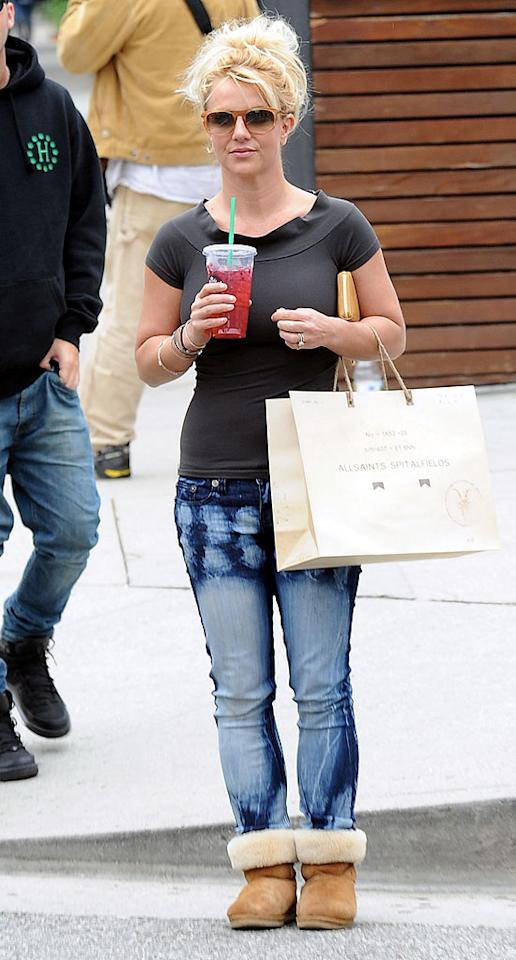 Britney Spears manages to fit in some retail therapy at Starbucks and All Saints along Robertson Boulevard in Beverly Hills, California before heading to her 'The X-Factor' judging gig.