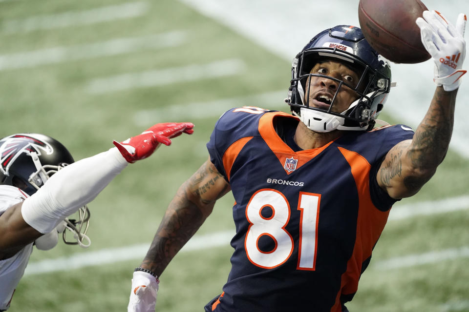 Denver Broncos wide receiver Tim Patrick (81) misses the catch against Atlanta Falcons defensive back Kendall Sheffield (20) during the second half of an NFL football game, Sunday, Nov. 8, 2020, in Atlanta. (AP Photo/John Bazemore)