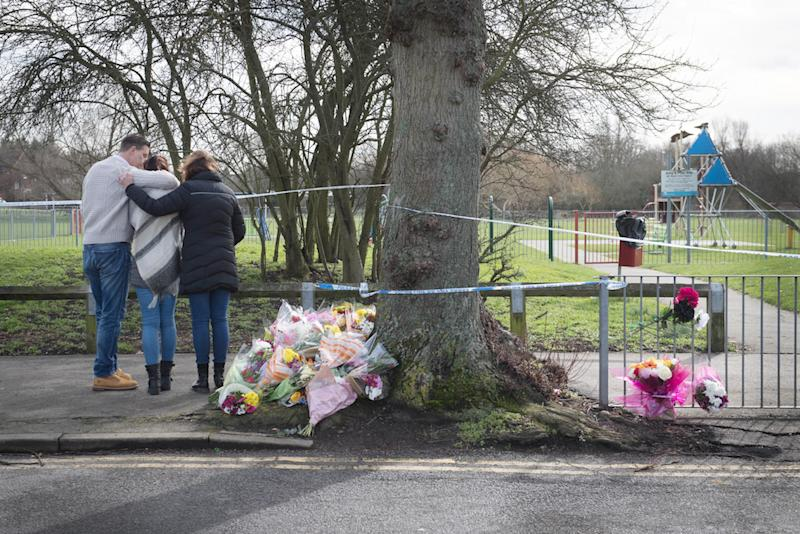Flowers near the scene in St Neot's Road in Harold Hill, east London, where 17-year-old Jodie Chesney was stabbed to death (Picture: PA)
