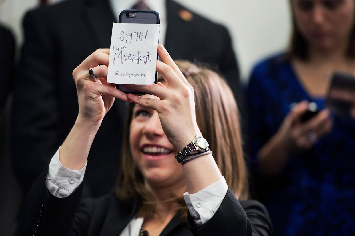 Conference aide SoRelle Wyckoff films a news conference in the Capitol after a meeting of the House Republican Conference using the live streaming app Meerkat on March 24, 2015.