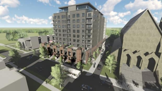 The conceptual design for the proposed St. Bernard Square includes about 148 rental apartments in the 12-storey building adjacent to St. Bernard's Roman Catholic Church on Botsford Street in Moncton. (Design Plus Architecture/Submitted - image credit)