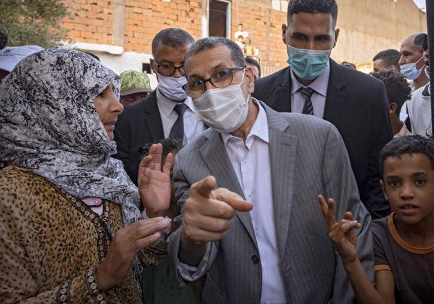 Saad-Eddine El Othmani , Morocco's Prime Minister and President of the Islamist Justice and Development Party (PJD), greets people during a campaign meeting in Sidi Slimane, some 120 kms from Rabat, on August 27, 2021 (Photo: FADEL SENNA via Getty Images)
